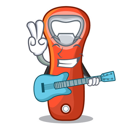 With guitar plastic bottle opener isolated on cartoon vector illustration Illustration