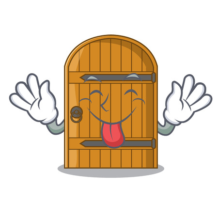 Tongue out vintage wooden door on mascot cartoon vector illustration