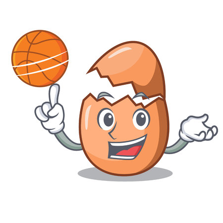 With basketball character broken egg on floor cartoon vector illustration