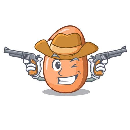Oeuf cassé de caractère cowboy sur dessin animé