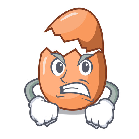 Angry shell of broken egg on the mascot Vetores