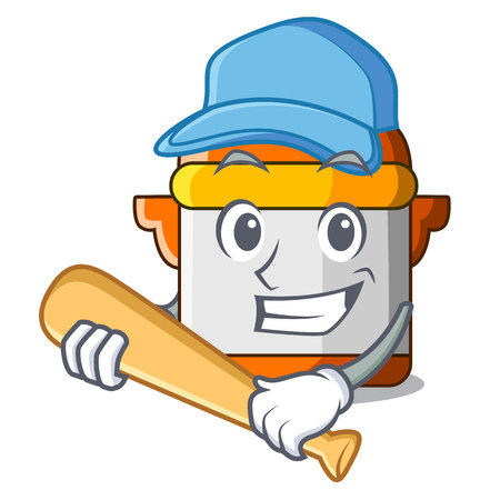 Playing baseball character cartoon modern cooker for cooking vector illustration  イラスト・ベクター素材