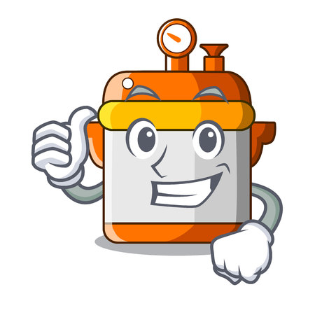 Thumbs up cartoon rice electric cooker in kitchen
