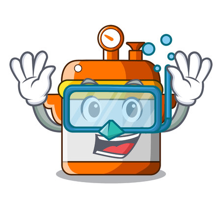 Diving cartoon rice electric cooker in kitchen vector illustration