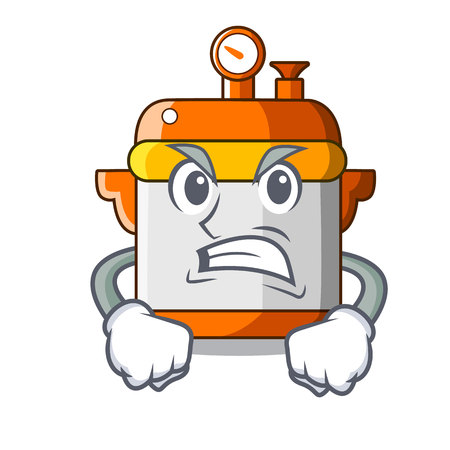 Angry electric rice cooker isolated on cartoon vector illustration