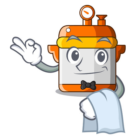 Waiter electric rice cooker isolated on cartoon