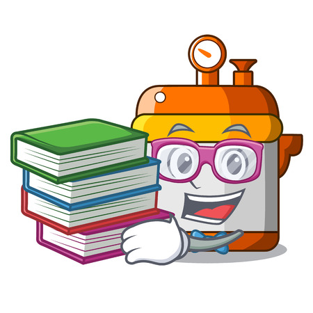 Student with book electric pressure cooker isolated on mascot