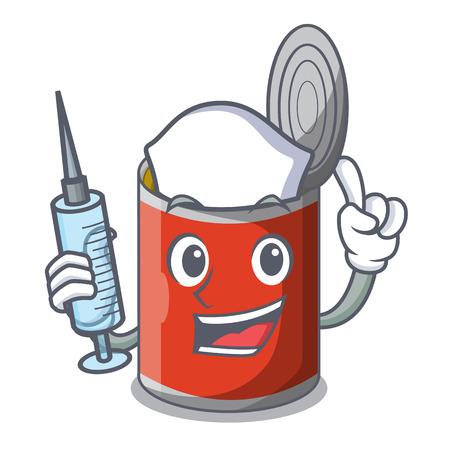 Nurse metal food cans on a cartoon vector illustration