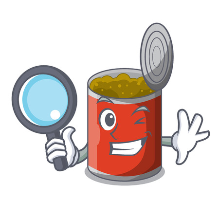 Detective metal food cans on a cartoon