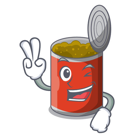 Two finger metal food cans on a cartoon vector illustration