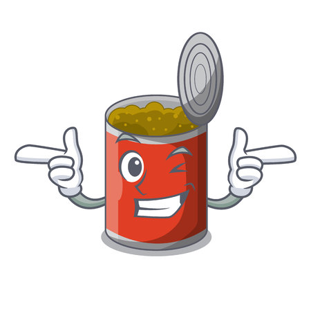 Wink metal food cans on a cartoon vector illustration 일러스트