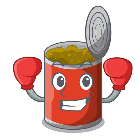 Boxing character canned food isolated on cartoon vector illustration Ilustração