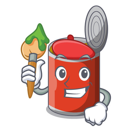 Artist character canned food isolated on cartoon vector illustration Banque d'images - 109980036