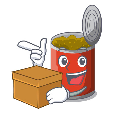 With box metal food cans on a cartoon vector illustration