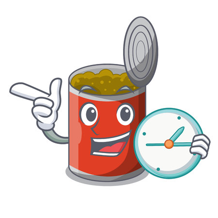 With clock metal food cans on a cartoon vector illustration