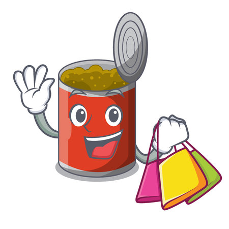 Shopping metal food cans on a cartoon vector illustration