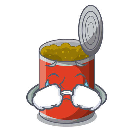 Crying canned food on the table cartoon vector illustration Illustration