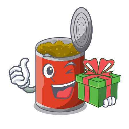 With gift canned food on the table cartoon vector illustration