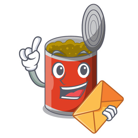 With envelope metal food cans on a cartoon vector illustration