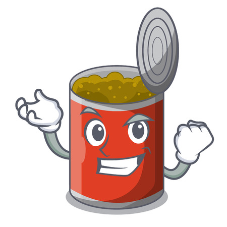 Successful metal food cans on a cartoon vector illustration