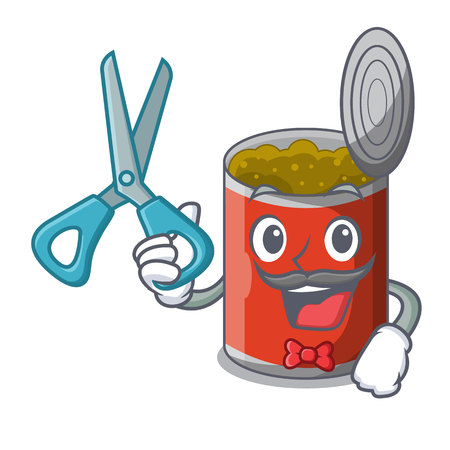 Barber character canned food isolated on cartoon vector illustration Illustration