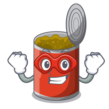 Super hero metal food cans on a cartoon 일러스트