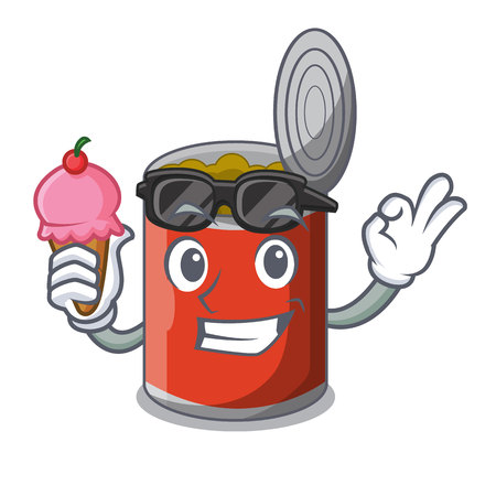 With ice cream metal food cans on a cartoon vector illustration