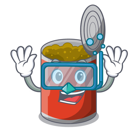 Diving metal food cans on a cartoon vector illustration 일러스트