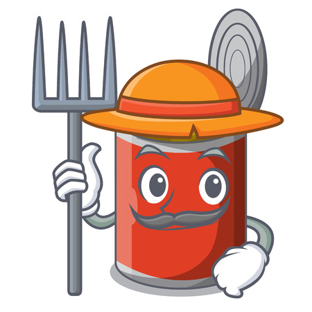 Farmer character canned food isolated on cartoon vector illustration Banque d'images - 108242234