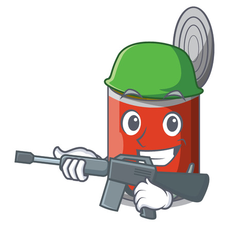 Army character canned food isolated on cartoon vector illustration
