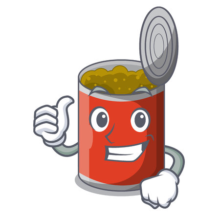Thumbs up metal food cans on a cartoon vector illustration