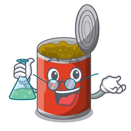 Professor metal food cans on a cartoon vector illustration 일러스트
