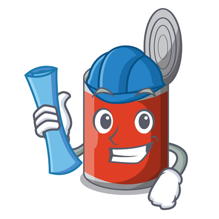 Architect metal food cans on a cartoon vector illustration