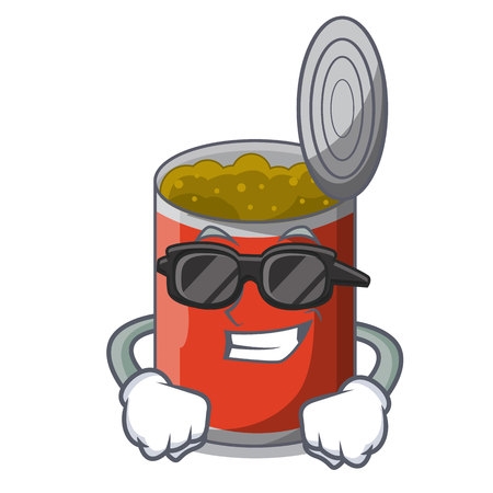 Super cool metal food cans on a cartoon vector illustration