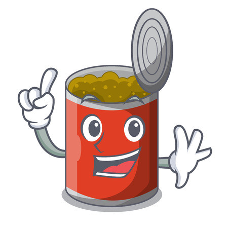 Finger canned food on the tablecloth cartoon vector illustration