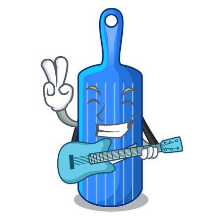 With guitar cartoon mandoline slicer for cutting vegetables vector illustration
