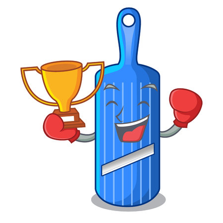 Boxing winner person cutting fruit on mandoline slicer cartoon