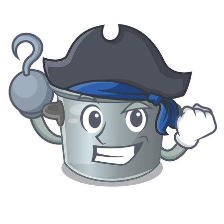 Pirate stock pot on wooden table cartoon vector illustration