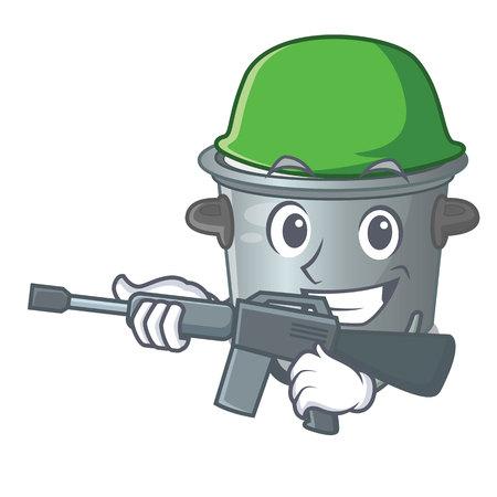 Army stock pot on wooden table cartoon vector illustration
