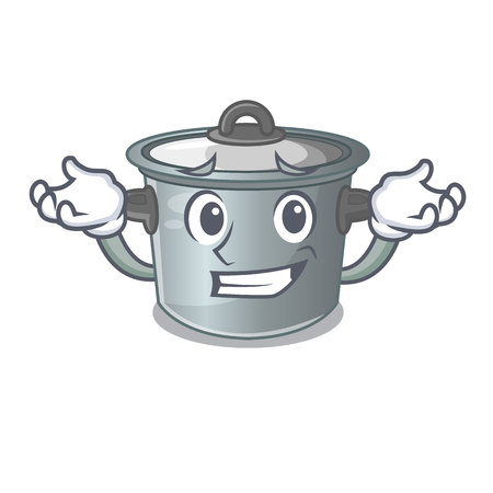 Grinning cartoon cookware stock pot in kitchen vector illustration