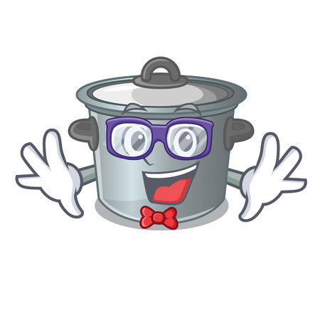 Geek cartoon cookware stock pot in kitchen vector illustration