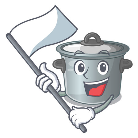 With flag cookware stock pot isolated on mascot vector illustration
