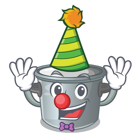 Clown cookware stock pot isolated on mascot vector illustration