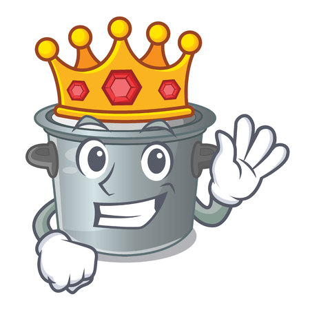 King cookware stock pot isolated on mascot vector illustration