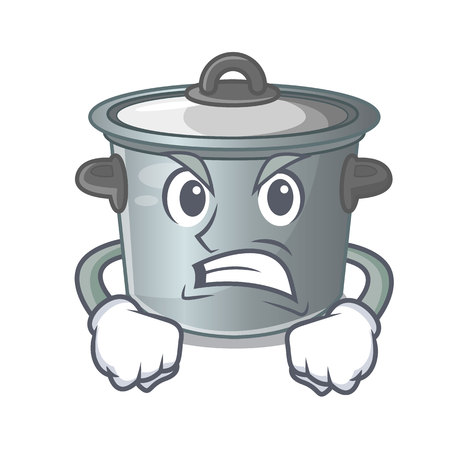 Angry cartoon stock pot used cooking food  イラスト・ベクター素材