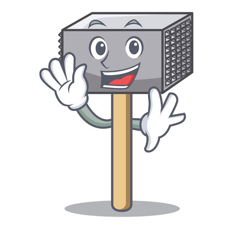 Waving hammer cartoon for tenderizer the meat vector illustration