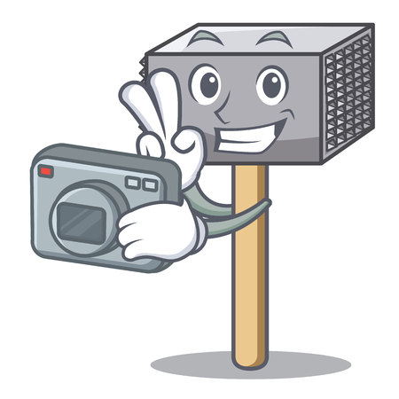 Photographer wooden meat hammer cartoon for kitchen utensil vector illustration Illustration