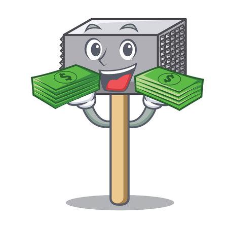 With money wooden meat hammer cartoon for kitchen utensil vector illustration