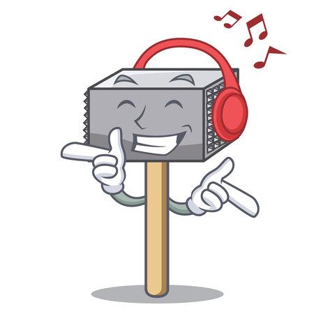 Listening music wooden meat hammer cartoon for kitchen utensil vector illustration  イラスト・ベクター素材
