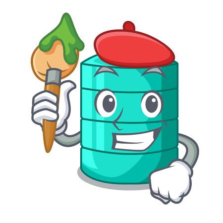 Artist cartoon big industrial water tank container vector illustration Ilustração
